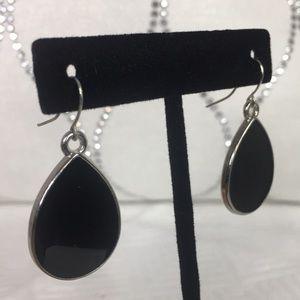 Earrings | Black & Silver Teardrop Shape